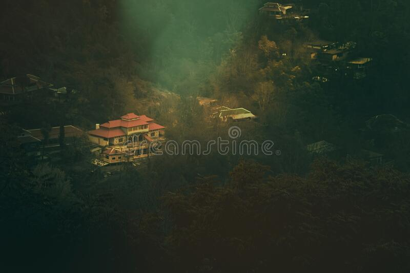 Beautiful aerial view misty landscape of Azad Kashmir, Pakistan. Beautiful aerial view misty landscape of Rawalakot, Azad Kashmir, Pakistan stock photos