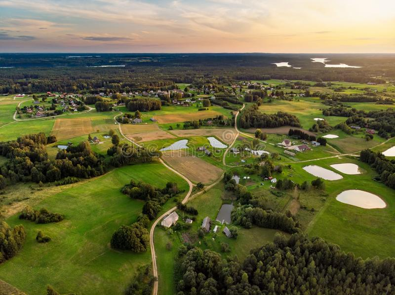 Beautiful aerial view of Moletai region, famous or its lakes. Scenic summer evening landscape in Lithuania. Beautiful aerial view of Moletai region, famous or royalty free stock photography