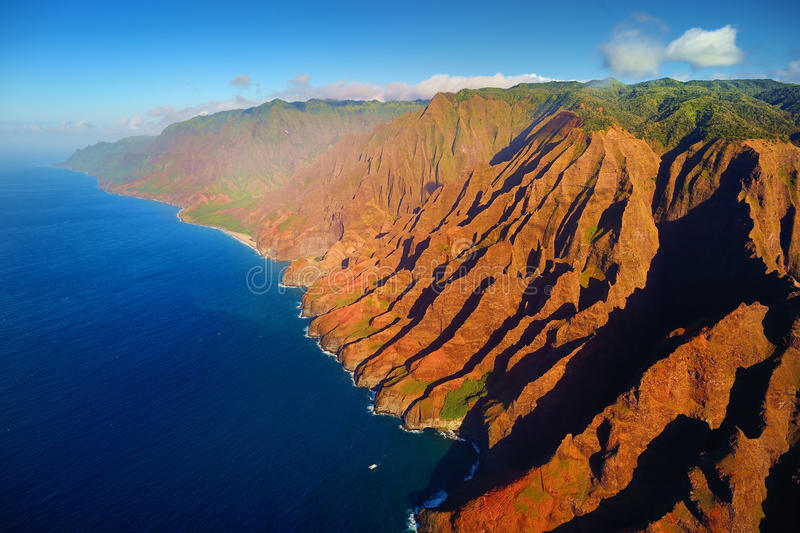 Beautiful aerial view of Na Pali coast royalty free stock images