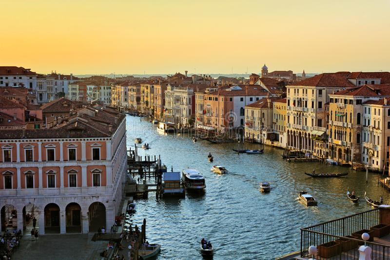 Aerial view of the Grand Canal at sunset, Venice, Italy royalty free stock photos