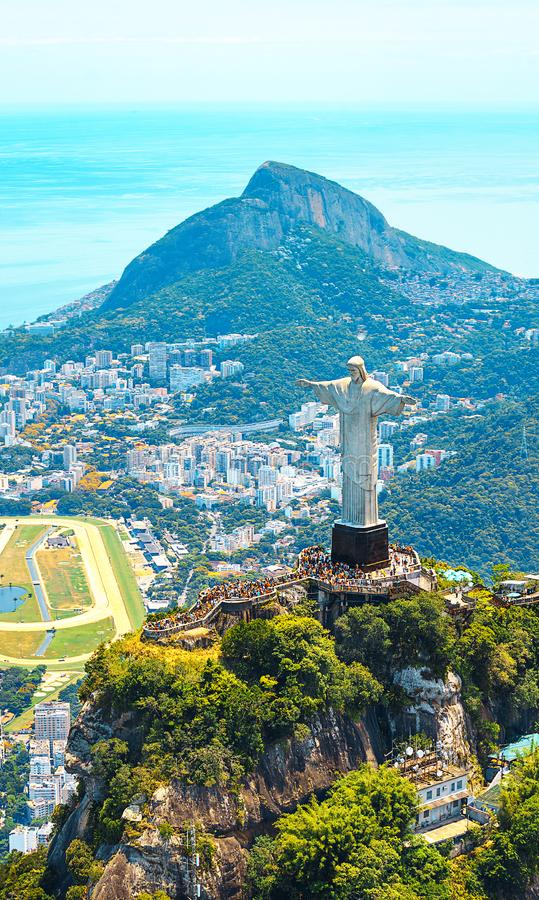 Beautiful Aerial view of Rio de Janeiro with Christ Redeemer and Corcovado Mountain. Brazil. Latin America royalty free stock images