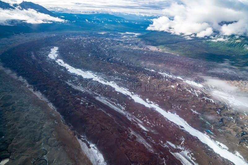 Beautiful aerial view of Root Glacier in Wrangell St. Elias Alaska royalty free stock image