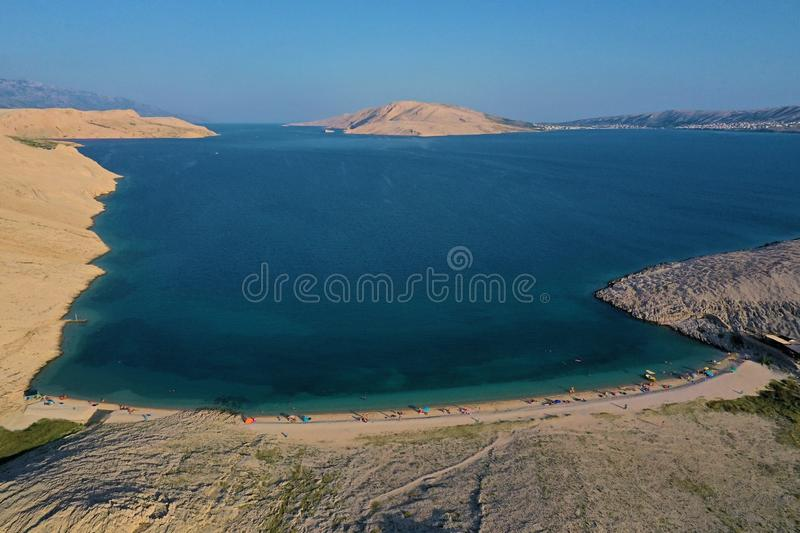 Beautiful aerial view on Rucica beach on Pag Island. During summer season at sunset, Croatia royalty free stock photo