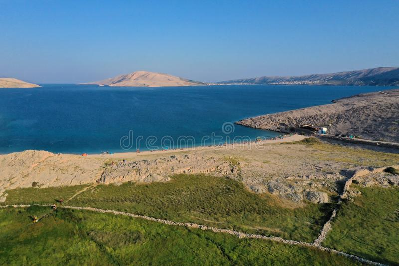 Beautiful aerial view on Rucica beach on Pag Island. During summer season at sunset, Croatia stock images