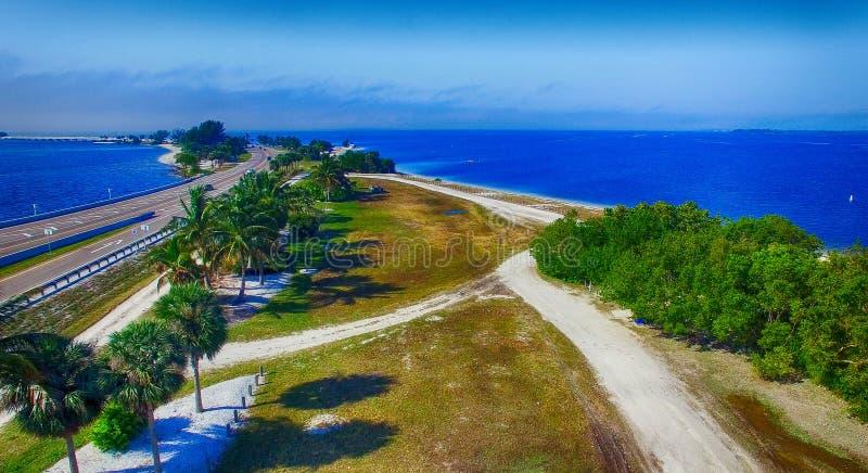 Beautiful aerial view of Sanibel Causeway, Florida - USA.  stock photography