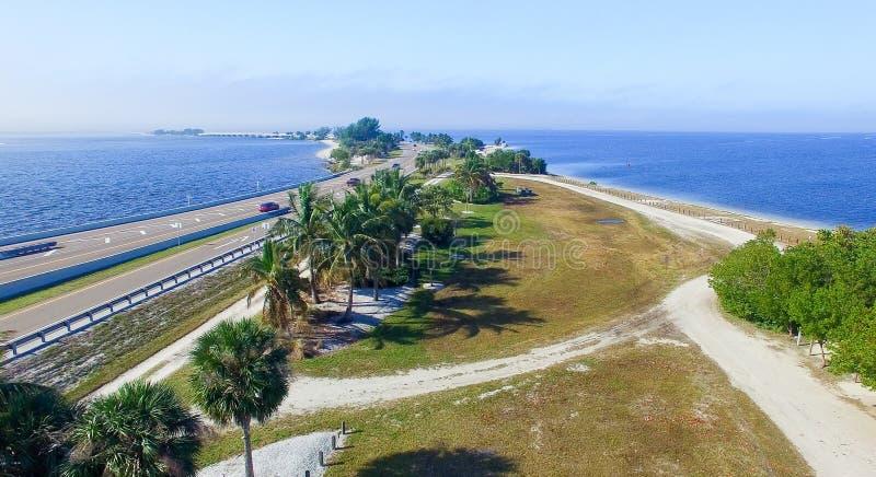 Beautiful aerial view of Sanibel Causeway, Florida - USA.  royalty free stock photos