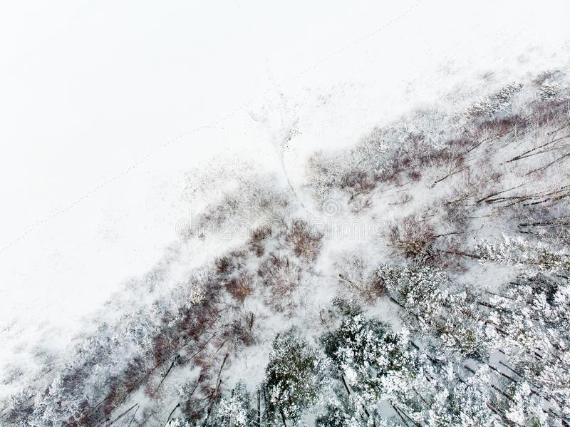 Beautiful aerial view of snow covered pine forests aroung Gela lake. Rime ice and hoar frost covering trees. Scenic landscape near royalty free stock photo