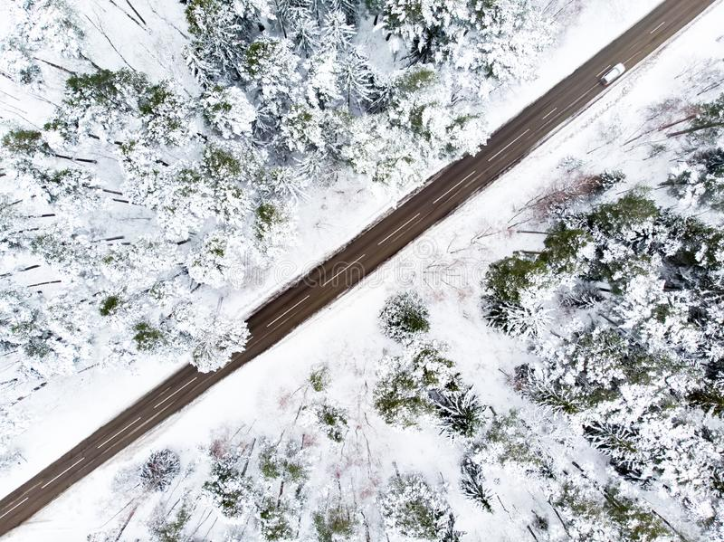 Beautiful aerial view of snow covered pine forests and a road winding among trees. Scenic winter landscape near Vilnius, Lithuania royalty free stock images