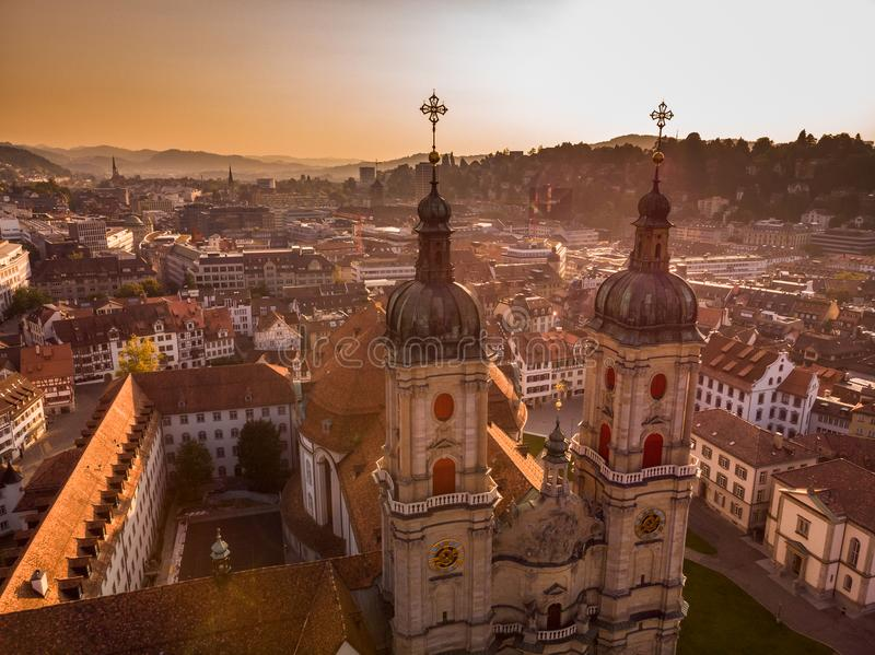 Abbey Cathedral of Saint Gall. Beautiful Aerial View of St. Gallen Cityscape Skyline, Abbey Cathedral of Saint Gall in Switzerland royalty free stock photography