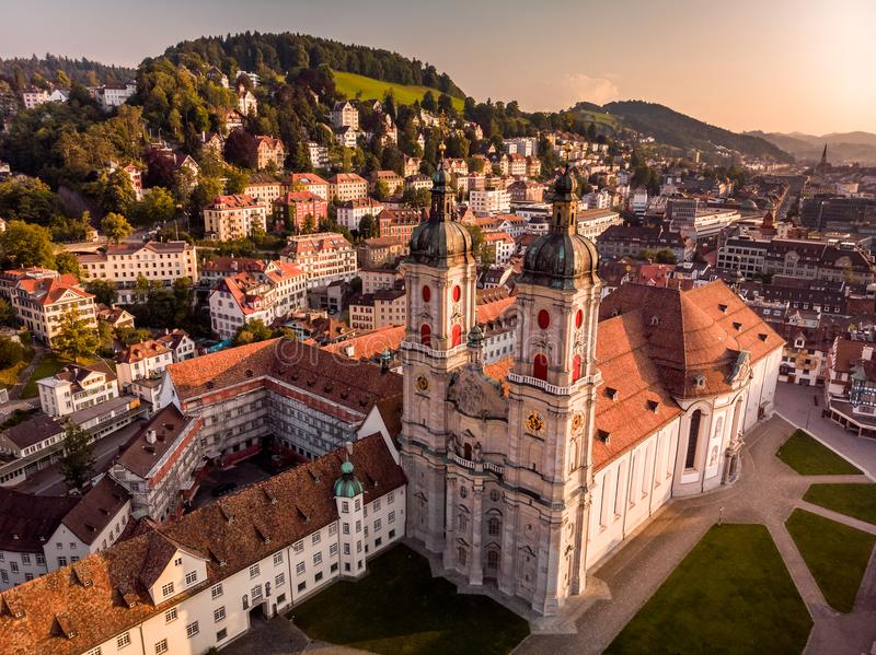 Abbey Cathedral of Saint Gall. Beautiful Aerial View of St. Gallen Cityscape Skyline, Abbey Cathedral of Saint Gall in Switzerland stock photo
