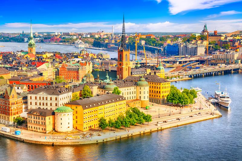 Beautiful aerial view of Stockholm Old town Gamla Stan from the City Hall Stadshuset. Beautiful summer sunny day in Stockholm, royalty free stock image