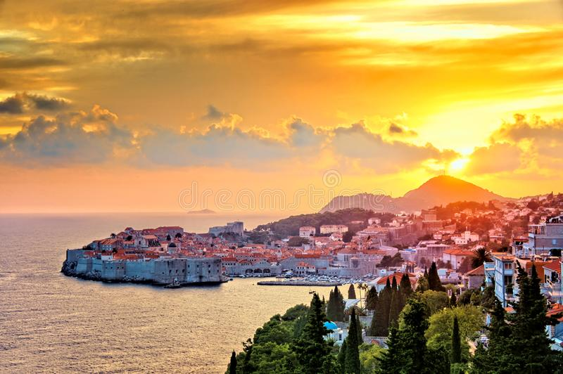 Aerial view of the sunset over the old town of Dubrovnik, Croatia stock photo