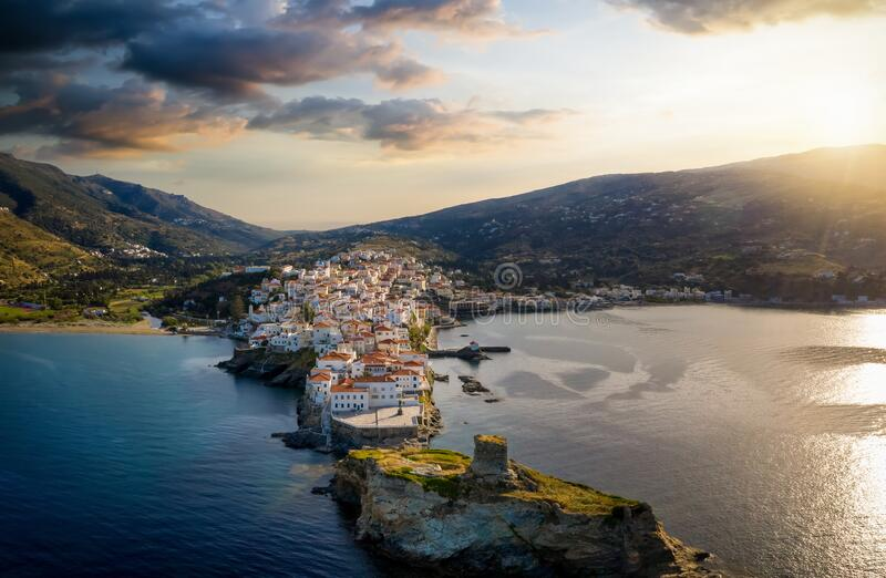 Aerial view to the idyllic town of Andros island, Cyclades, Greece royalty free stock photography