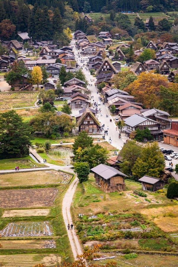 Beautiful aerial view of the UNESCO world heritage site, Shirakawa-go in autumn season stock image