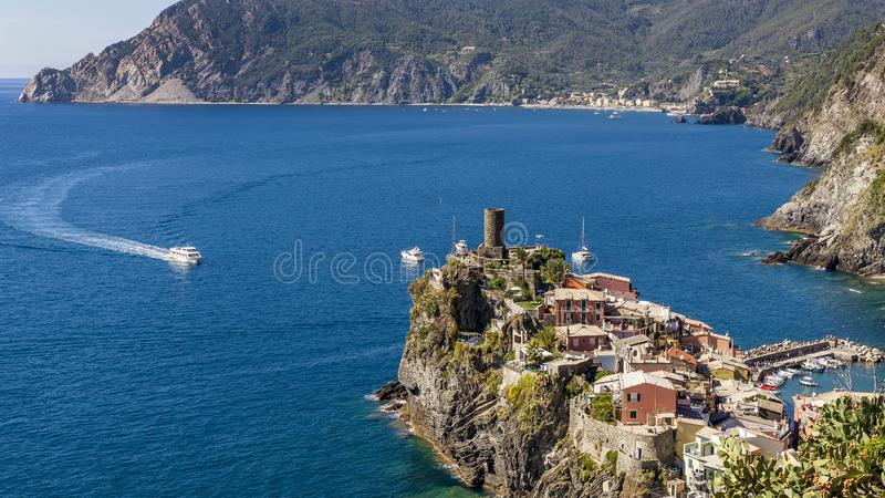 Beautiful aerial view of Vernazza and Monterosso al mare, Cinque Terre park, Liguria, Italy stock photo