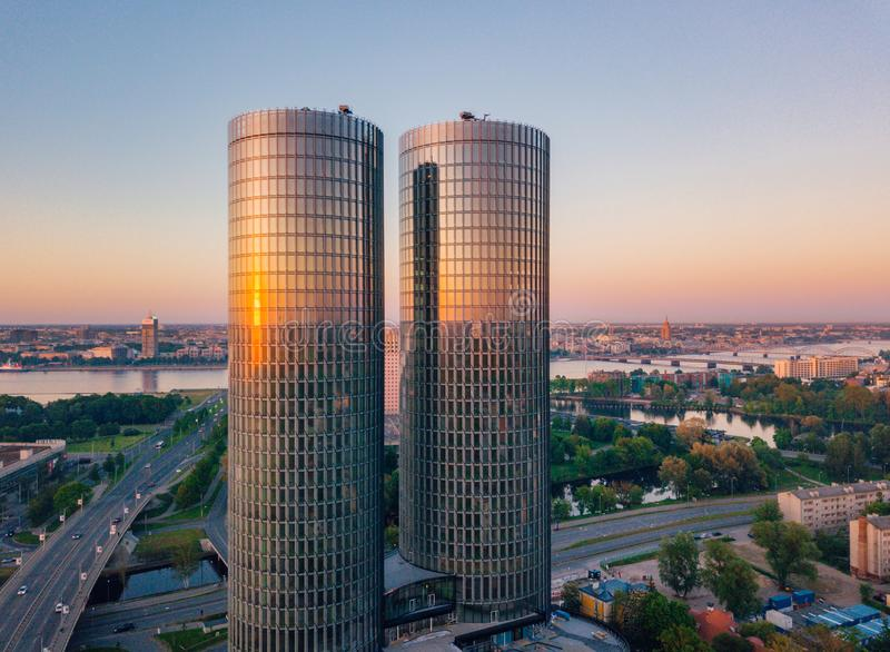 Beautiful aerial view on the Z-Towers in the center of Riga, Latvia. stock photo