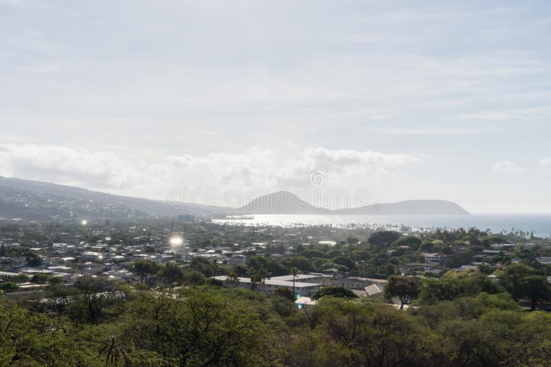 Beautiful aerial vista from the foothill of the Diamond Head mountain on Oahu royalty free stock images