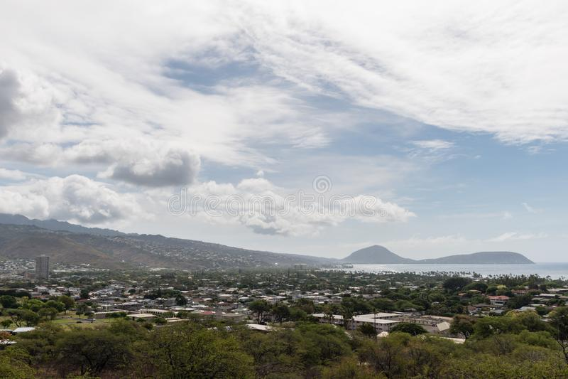 Beautiful aerial vista from the foothill of the Diamond Head mountain on Oahu royalty free stock image