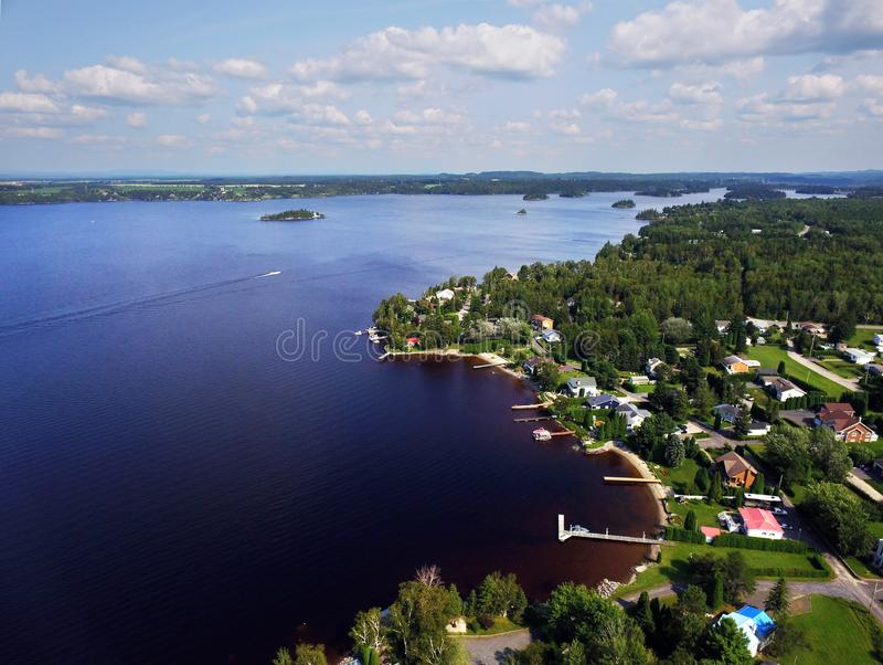 Aeriall view of lakeshore with houses royalty free stock image