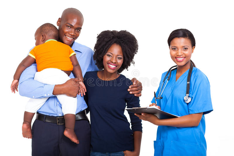 Healthcare worker family stock image