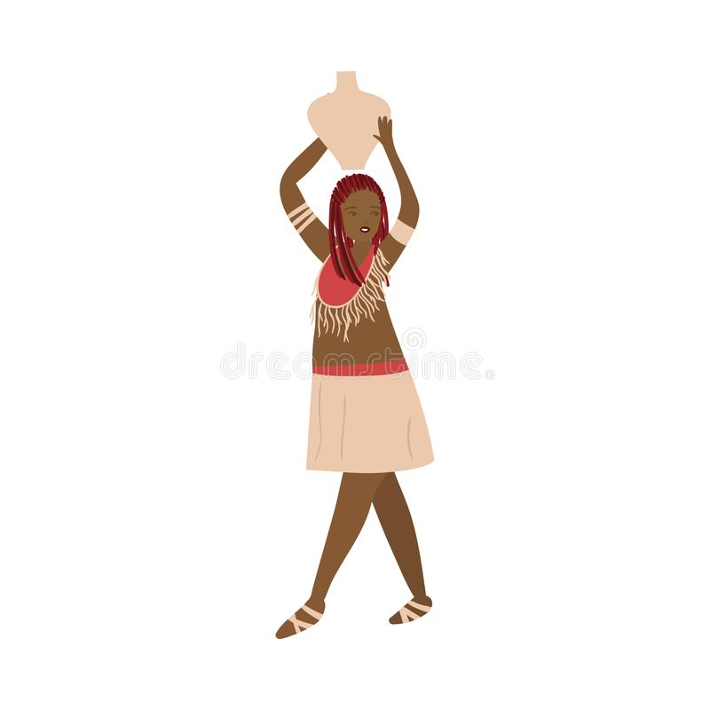 Beautiful african aborigine woman in traditional clothes with water jug. On head. Flat style. Vector illustration on white background stock illustration