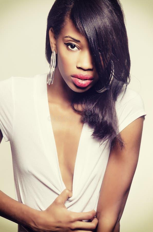 Beautiful African American fashion model royalty free stock image
