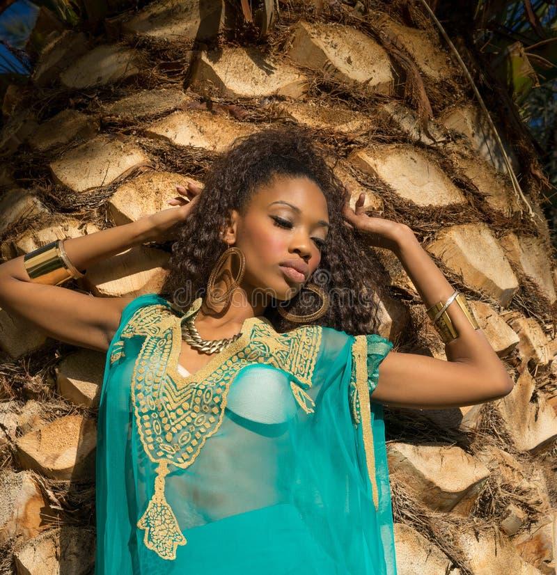 Beautiful African American model wearing tunic dress royalty free stock photography