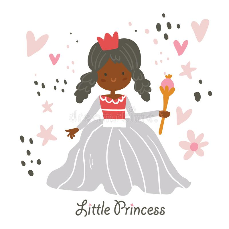 Beautiful African American princess vector vector illustration