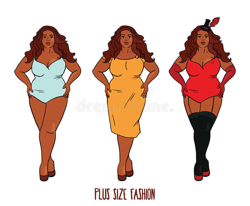 Beautiful African american woman with curves vector illustration