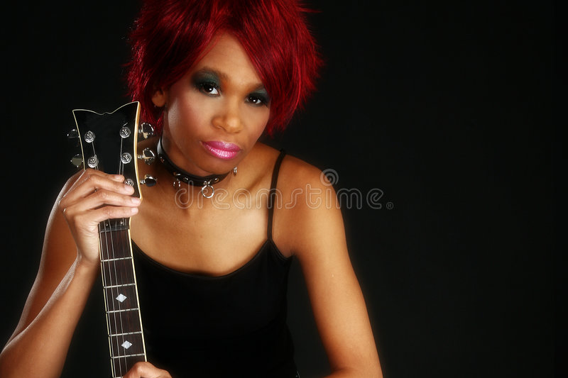 Download Beautiful African American Woman With Guitar Stock Image - Image: 3993493