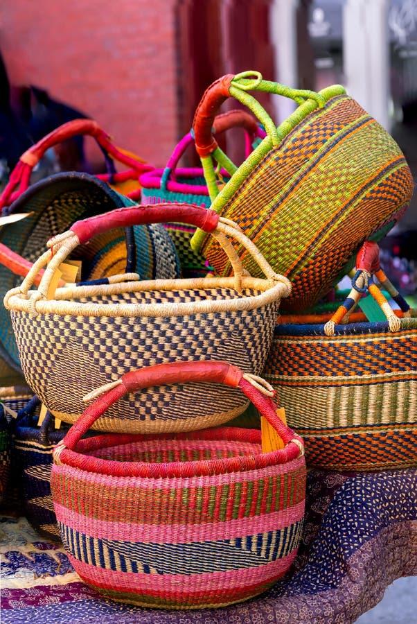 Handmade African Baskets at a Sidewalk Sale stock image