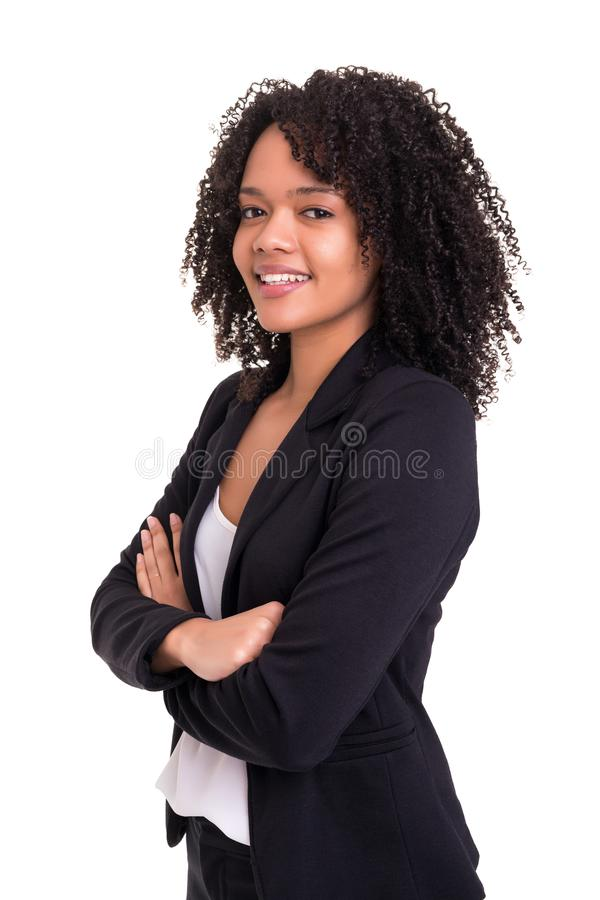 African business woman. Beautiful african business woman posing isolated over white background stock image
