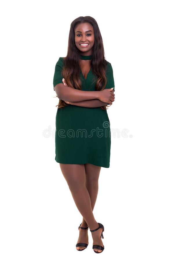 African business woman. Beautiful african business woman posing isolated over white background royalty free stock photography