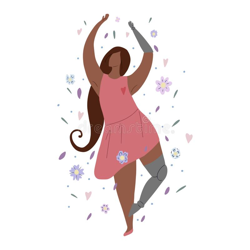 Beautiful african girl dancing in flowers with prosthetic arm and leg. Modern flat illustration of a strong self sufficient woman. For postcards, articles and vector illustration