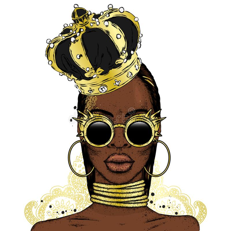 Free Beautiful African Girl In The Crown. Black Woman. Vector Illustration, Fashion And Style. Royalty Free Stock Images - 111064429