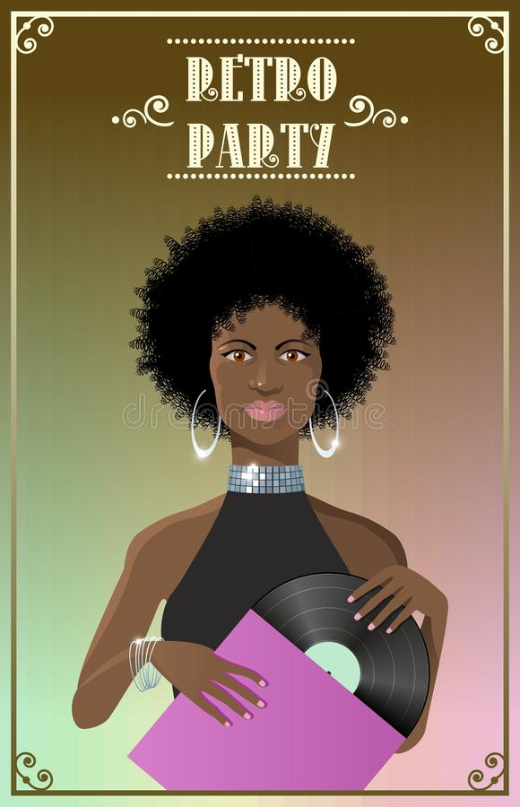 Beautiful african lady disco style with vinyl vector illustration