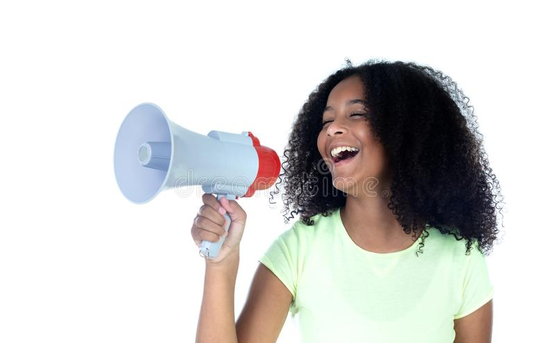 Beautiful african teenager girl with a megaphone stock photos