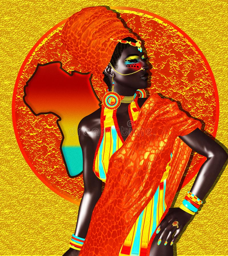 African Queen, Fashion Beauty. Stock Illustration