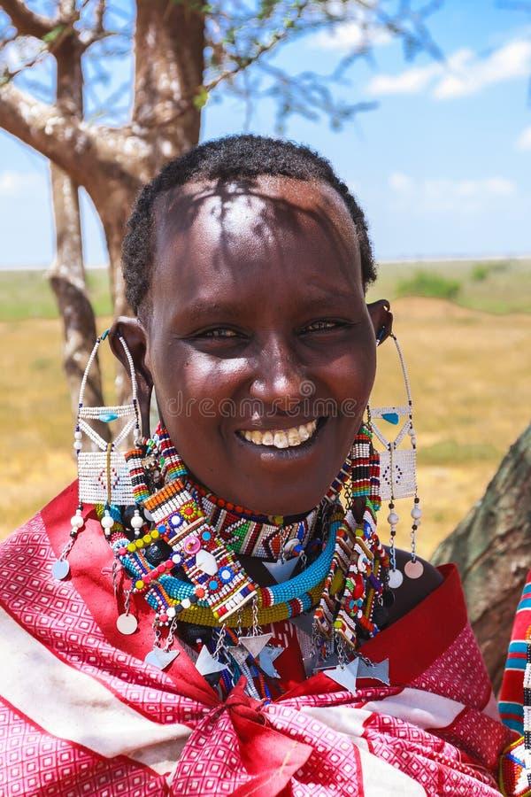 Beautiful African woman. Kenya. Amboseli stock photo