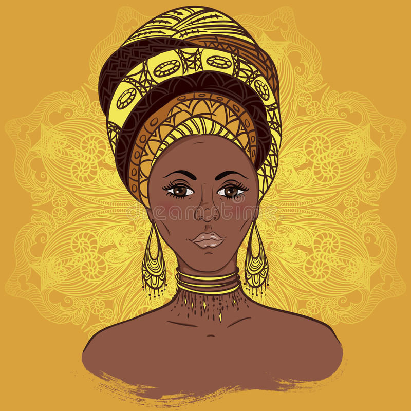 Beautiful African woman in turban over ornate mandala round pattern. Hand drawn vector illustration. Design, card, print, poster, postcard royalty free illustration