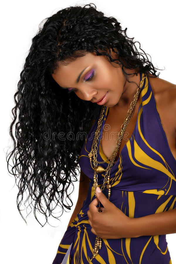 Free Beautiful African Woman With Long Curly Hair. Royalty Free Stock Image - 14342476