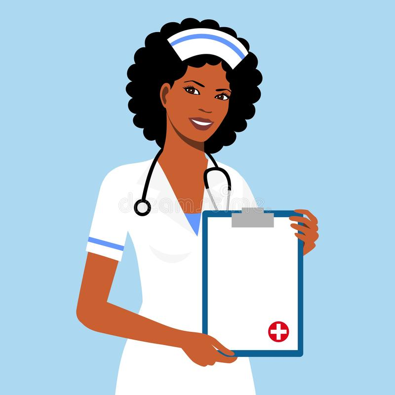 Beautiful afro american female nurse is holding clipboard and showing document. Portrait of young afro american nurse or medic wit stock illustration