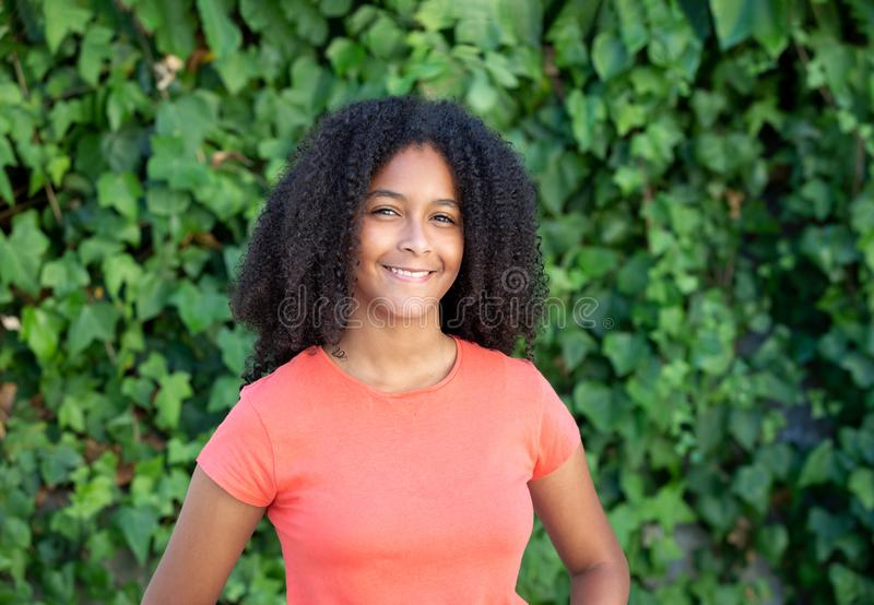 Beautiful afro teenager girl. During a sunny day royalty free stock photo