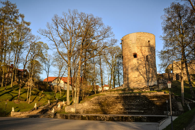 Beautiful afternoon light in park with old castle ruins royalty free stock image