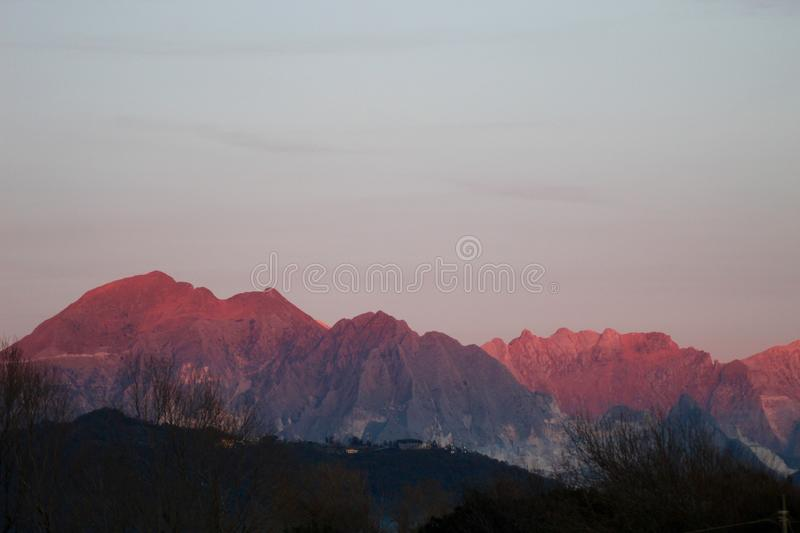 The beautiful landscape and mountains. This beautiful afternoon in a little village in Italy you cold see these mountains. The sun was shining at the mountains royalty free stock images