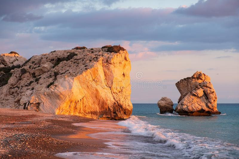 Beautiful afternoon view of the beach around Petra tou Romiou, also known as Aphrodite`s birthplace, in Paphos, Cyprus royalty free stock images