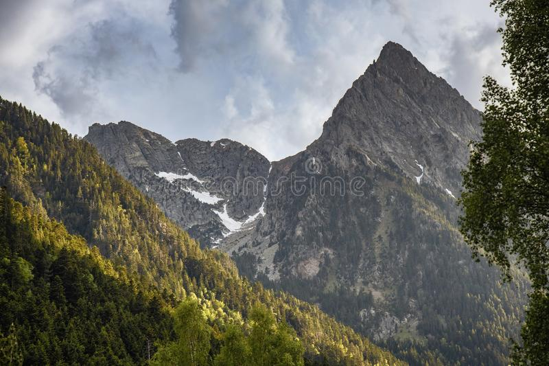 The beautiful Aigüestortes i Estany de Sant Maurici National Park of the Spanish Pyrenees mountain in Catalonia royalty free stock photos
