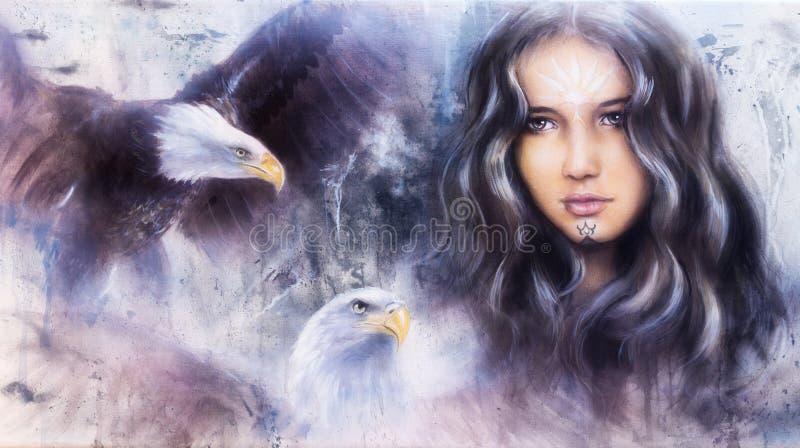 A beautiful airbrush painting of an enchanting woman face with t. Beautiful airbrush painting of an enchanting woman face with two flying eagles royalty free illustration