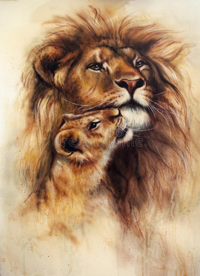 Beautiful airbrush painting of a loving lion and her baby cub vector illustration