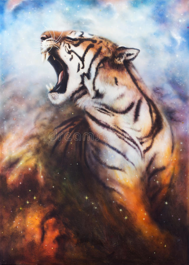 A beautiful airbrush painting of a roaring tiger on a abstract c. A beautiful airbrush painting of a mighty roaring tiger emerging from an abstract cosmical vector illustration